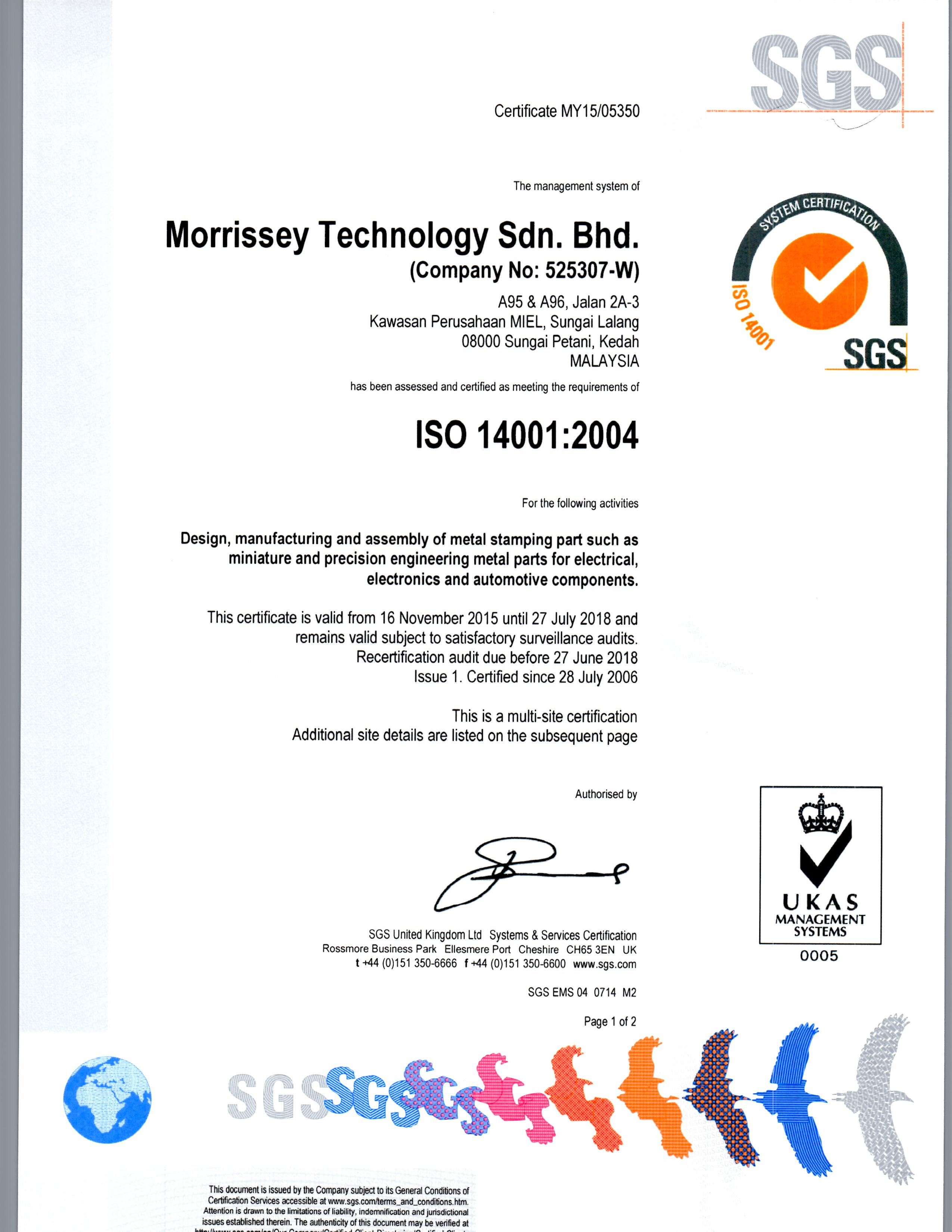 ISO 14001 Page 1 of 2