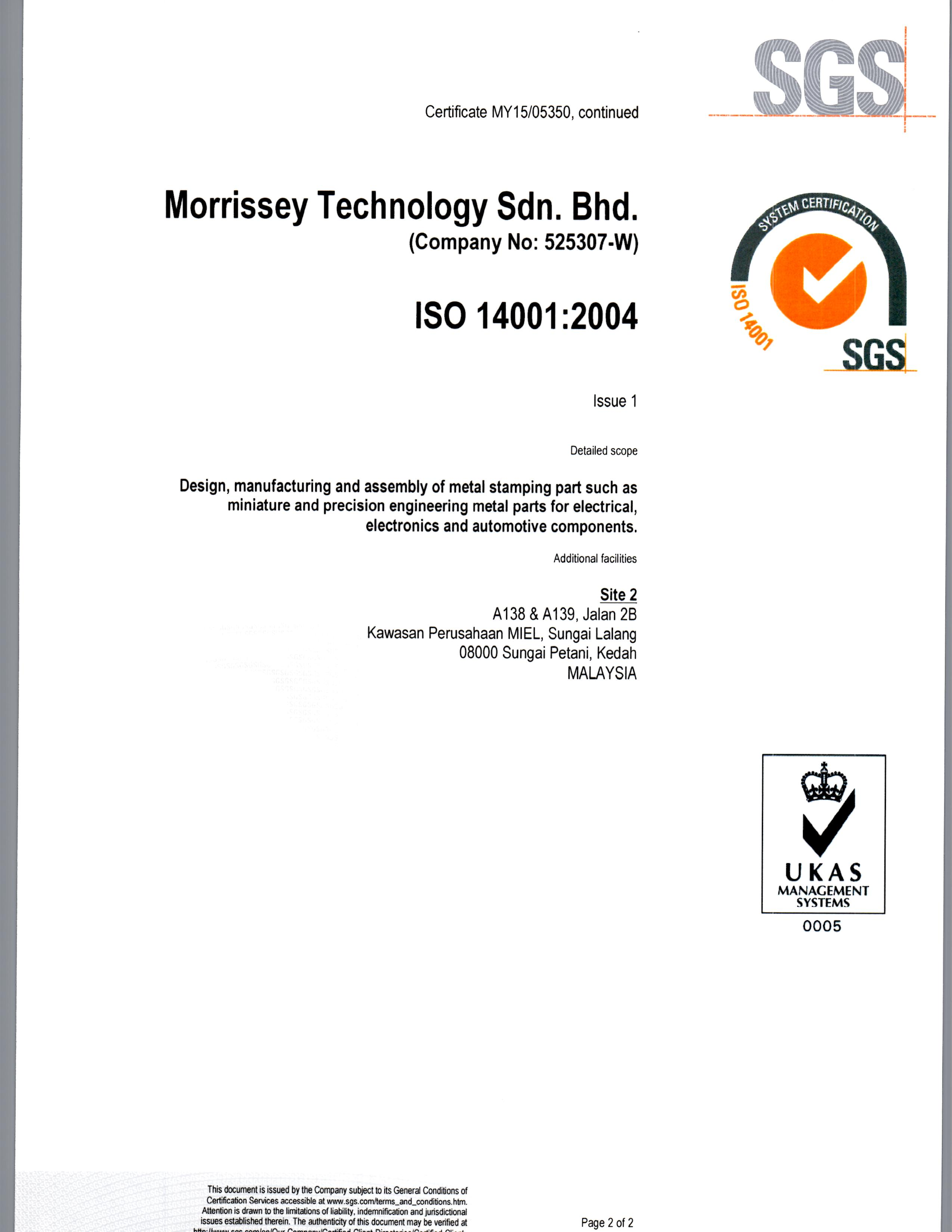 ISO 14001 Page 2 of 2